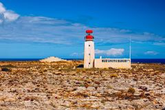 Lighthouse in Fortaleza de Sagres, Portugal, Europe on a cliff. This beautiful ancient architecture is used for navigation by royalty free stock photos