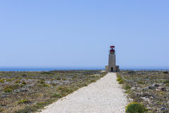 Lighthouse of Fortaleza de Sagres in Portugal Royalty Free Stock Photography