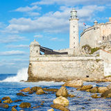 The lighthouse and fortress of El Morro in Havana Royalty Free Stock Photography