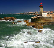 Lighthouse in Foz do Douro not far from Oporto stock images