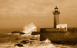 Lighthouse in Foz of Douro, Portugal, Royalty Free Stock Images