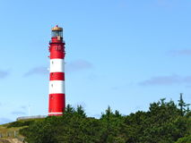 Lighthouse in front of a blue sky. Lighthouse, green trees, bushes and blue sky on a North Sea island Stock Photo