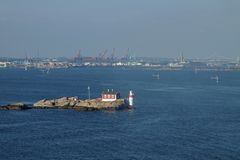 Lighthouse in front of the port of gothenburg royalty free stock images