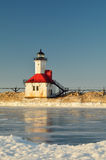 Lighthouse on Frozen Canal royalty free stock photos