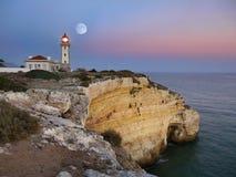Lighthouse, Full Moon at Night Royalty Free Stock Photo