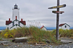 Lighthouse with fun signs Serenity and Reality. Lighthouse at Dungeness Spit near Sequim Washington state. The signs on the post say Welcome To Serenity and Royalty Free Stock Images