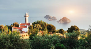 Lighthouse Gelidonya Peninsula in spring. Beautiful landscapes o Royalty Free Stock Photography