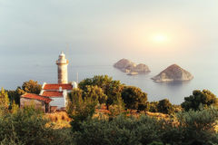 Lighthouse Gelidonya Peninsula in spring. Beautiful landscapes o Royalty Free Stock Photos