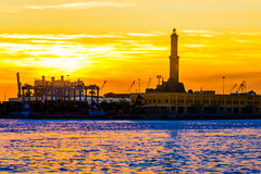 The lighthouse  of Genoa called Lanterna at sunset, Italy Stock Image
