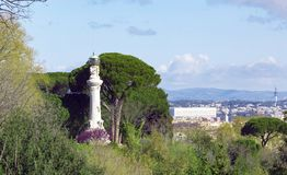Lighthouse of Gianicolo hill. Or Janiculum in a sunny spring day Stock Images