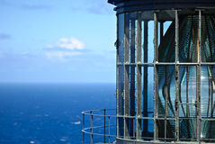 Lighthouse Glass. Detailed view of Makapu'u Lighthouse on Oahu Hawaii Royalty Free Stock Images