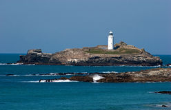 Godrevy Lighthouse North Cornwall. The lighthouse at Godrevy on the north Cornish coast is located just outside the village of Gwithian and the larger town of Royalty Free Stock Images