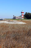 Lighthouse from Golf Course. This photo was taken from the 18th fairway at the Harbour Town Golf Links golf course on Hilton Head Island in South Carolina Royalty Free Stock Photos
