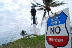 Lighthouse with Government sign. Hillsborough Lighthouse with government no trespassing sign Stock Images
