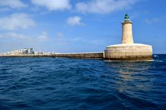 Lighthouse in Grand harbor, Malta