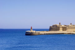 Lighthouse in Grand Harbour. (Valletta, Malta Royalty Free Stock Image