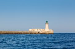 Lighthouse in Grand Harbour. (Valletta, Malta Royalty Free Stock Photos
