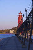 Lighthouse at Grand Haven, Michigan Stock Images
