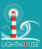 Lighthouse graphic label with text Stock Photography
