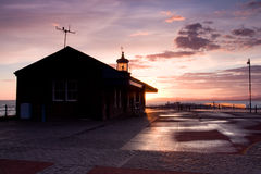Lighthouse in Great Britain. Lighthouse at sunset on the Morecambe Bay Royalty Free Stock Photo