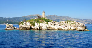 Lighthouse, Greece. View of the lighthouse on the island, Greece Royalty Free Stock Image