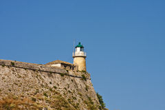 Lighthouse on Greek Fortress Royalty Free Stock Images