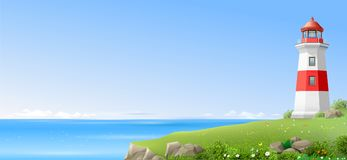 Lighthouse on a green hill above the sea. Realistic lighthouse on a green hill above the sea. Wide banner or Wallpaper. Vector illustration vector illustration
