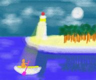 Lighthouse Guardian Of The Sea Abstract Painting Royalty Free Stock Photos