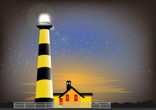Lighthouse. Guarding the beacon from the lighthouse at sunset against the background of the starry sky stock illustration