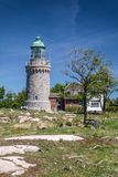 Lighthouse Hammeren Fyr on Bornholm Royalty Free Stock Photo