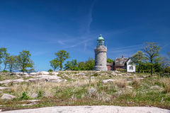 Lighthouse Hammeren Fyr on Bornholm Stock Image