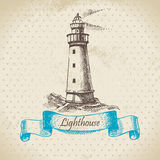 Lighthouse. Hand drawn retro illustration Royalty Free Stock Images