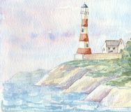 Lighthouse. A hand painted illustration of a generic lighthouse created in watercolour paints vector illustration