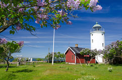 Lighthouse on Hano island Stock Image