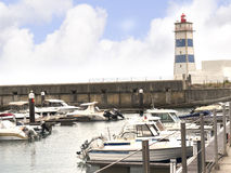 The Lighthouse on the Harbour at Cascais in Estoril near Lisbon Portugal Stock Photography