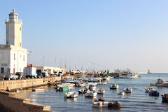 Lighthouse and harbour of Manfredonia, Italy Stock Photos