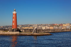 Lighthouse at harbour in Naples, Italy Royalty Free Stock Photo
