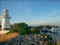 Lighthouse Harbour Sunset Stock Photos
