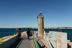 Lighthouse in the harbour Torrevieja Royalty Free Stock Photos