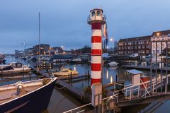 Lighthouse in Hasselt at night Royalty Free Stock Photos