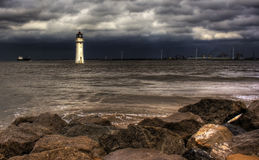 Lighthouse hdr. Lighthouse against a stormy sky HDR Stock Photo