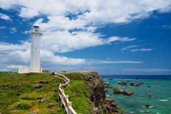 The Lighthouse in HIGASHI HENNA Cape, Okinawa Prefecture/Japan Stock Photo