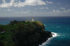 Lighthouse on a Hill. Lighthouse on Kauai stock photo