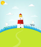 Lighthouse on a hill Royalty Free Stock Photo