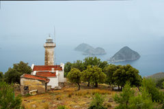 Lighthouse on a hill above the sea Royalty Free Stock Photo