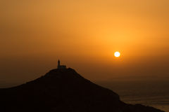 Lighthouse on a hill at sunset Royalty Free Stock Photography