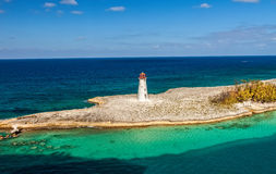 Lighthouse. Historic old lighthouse that sits on the tip of Paradise Island in the Bahamas, eastern Caribbean Stock Image
