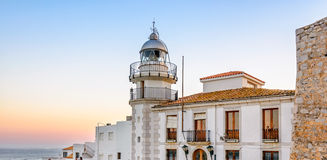 Lighthouse in historical center of Peniscola, Spain Royalty Free Stock Photography