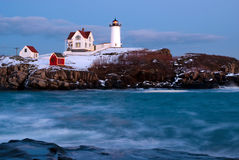 Lighthouse Holiday Spirits in Maine Royalty Free Stock Image