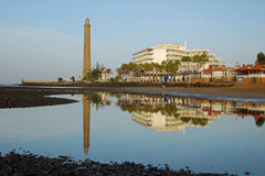 Lighthouse,hotels mirror in water-Gran Canaria Stock Images